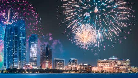Beautiful fireworks above Abu Dhabi Skyline at night, UAE Stock Photo