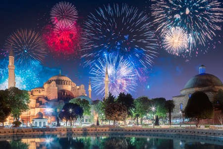 Beautiful fireworks above Hagia Sophia in Istanbul