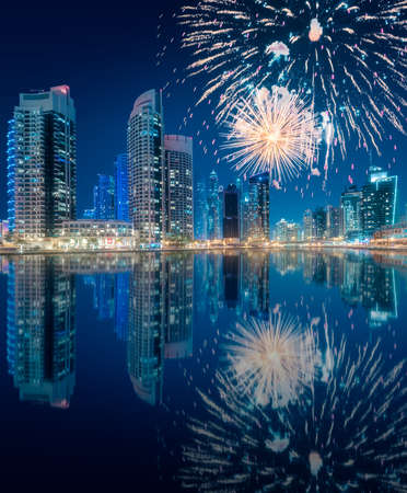 Beautiful fireworks above Dubai Marina bay, UAE