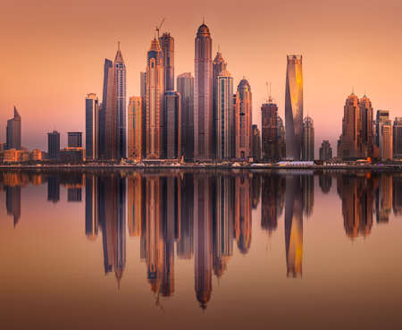 Vue sur la baie de Dubaï Marina de Palm Jumeirah, Émirats Arabes Unis