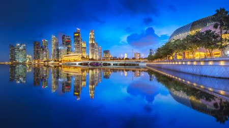 View of business district and Marinabay skyline at night in Singapore