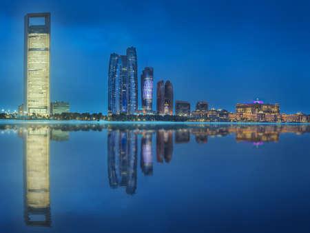 Panorama view of Abu Dhabi Skyline at sunset, UAE Stock Photo