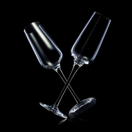 Set of empty luxury champagne glasses isolated on a black Stockfoto