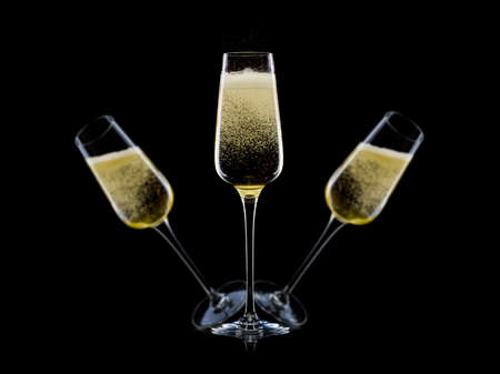 Set of luxury champagne glasses on isolated on a black