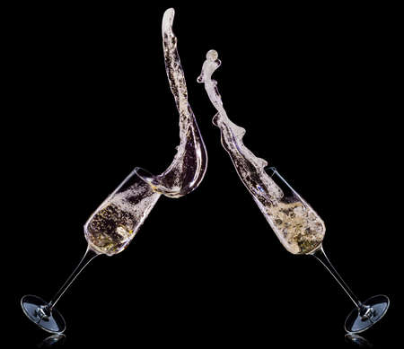 Set of luxury champagne glasses isolated on a black