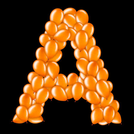 Orange letter A from helium balloons part of English alphabet.