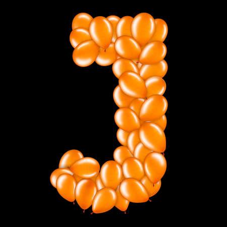Orange letter J from helium balloons part of English alphabet. Stockfoto