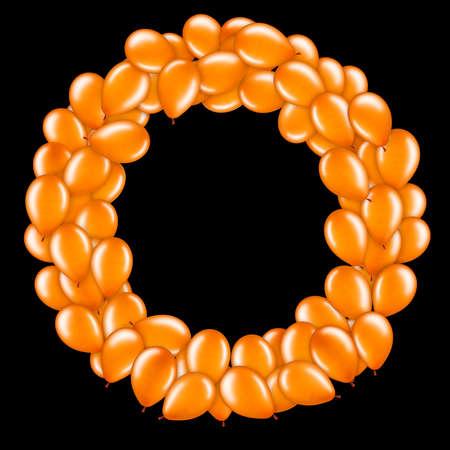 Orange letter O from helium balloons part of English alphabet.