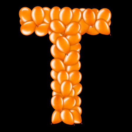 Orange letter T from helium balloons part of English alphabet.