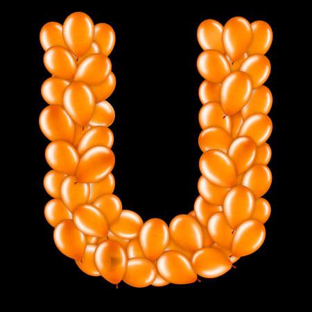 Orange letter U from helium balloons part of English alphabet. Stockfoto
