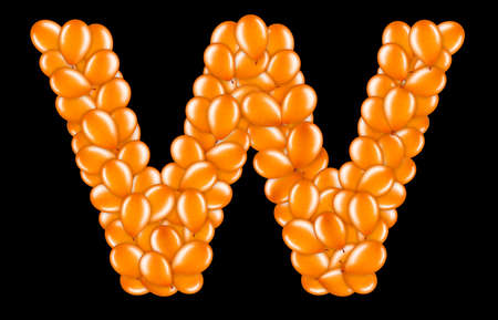 Orange letter W from helium balloons part of English alphabet.