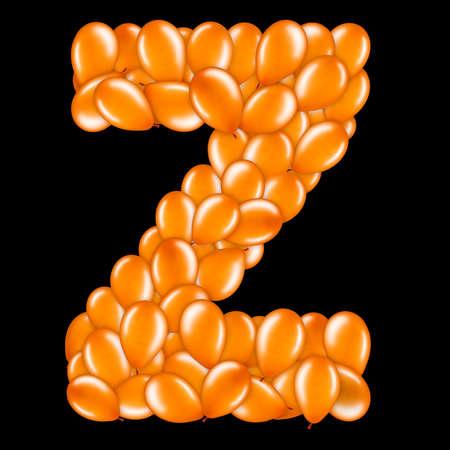 Orange letter Z from helium balloons part of English alphabet.