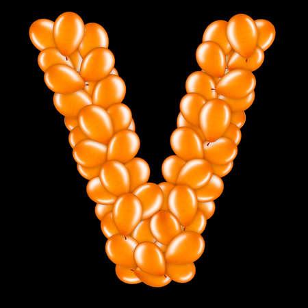 Orange letter V from helium balloons part of English alphabet.