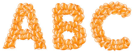 Set of orange letters from helium balloons part of English alphabet. Stockfoto