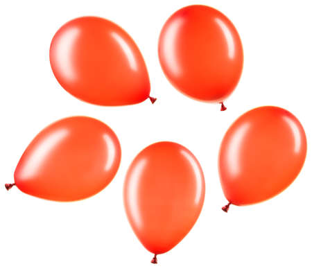 Set of red helium balloons, element of decorations
