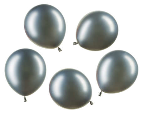 Set of chrome silver helium balloons, element of decorations Stockfoto