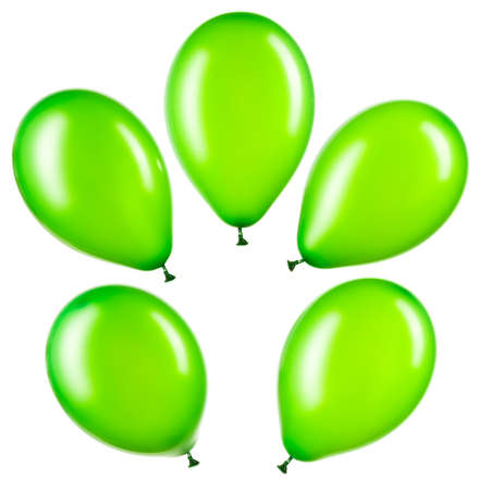Set of green helium balloons, element of decorations