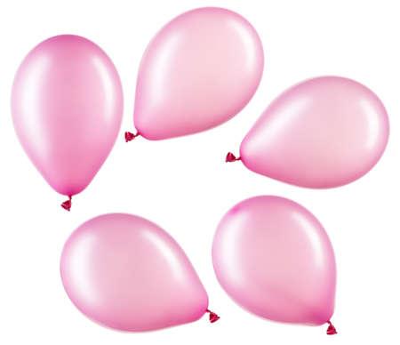 Set of pink helium balloons, element of decorations Stockfoto