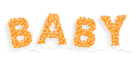 Word Baby made of flying helium balloon with ribbons, element of decorations Stockfoto
