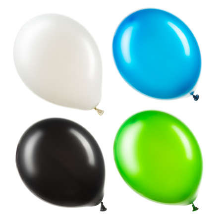 Set of colourful helium balloons. Element of decorations for Birthday party, wedding or festival.