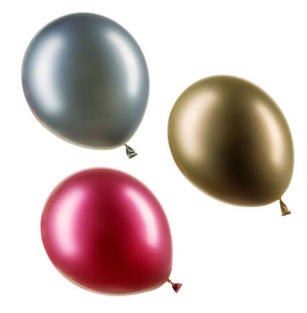 Set of colourful chrome helium balloons. Element of decorations for Birthday party, wedding or festival.