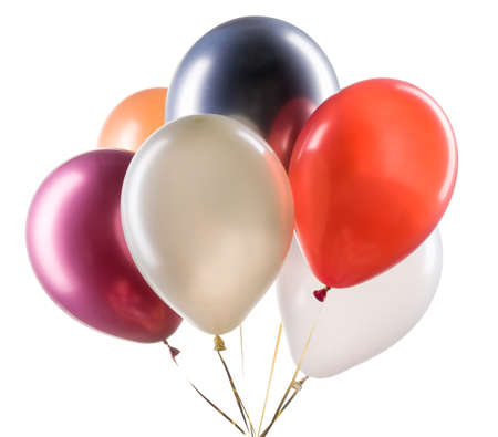 Set of multicolored helium balloons. Element of decorations for party. Stock fotó