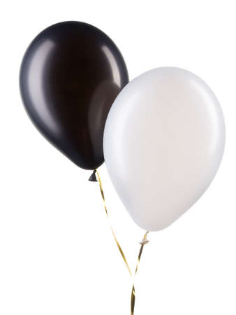 Set of black and white helium balloons. Element of decorations for party.