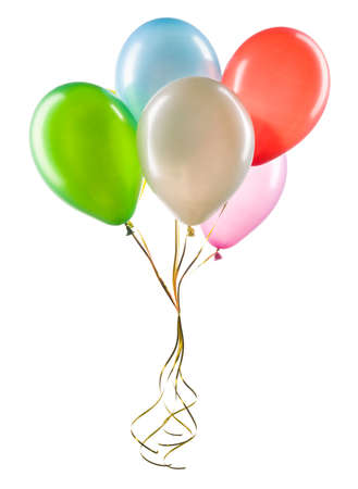 Set of multicolored helium balloons. Element of decorations for party. Stock Photo