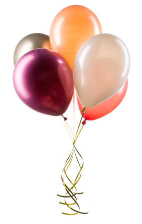 Set of multicolored helium balloons. Element of decorations for party.
