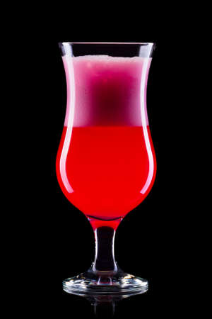 Strawberry cocktail in hurricane glass isolated on black Banco de Imagens