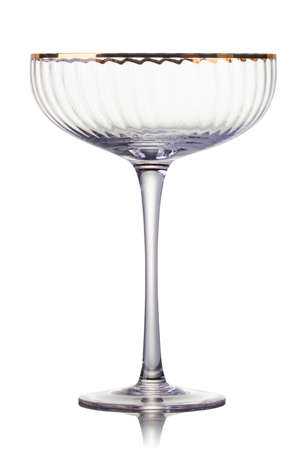 Empty luxury champagne glass isolated on a white background