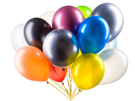Set of multicolored helium balloons.
