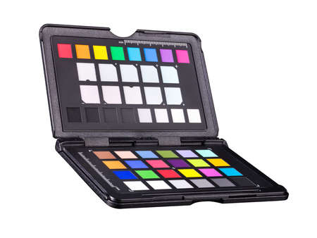 Rainbow color palette or colorchecker calibration passport for post production