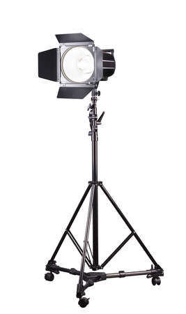 Photography studio flash on a lighting stand isolated on white Stock fotó
