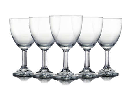 Set of empty glasses of light beer with foam isolated on a white Stock Photo