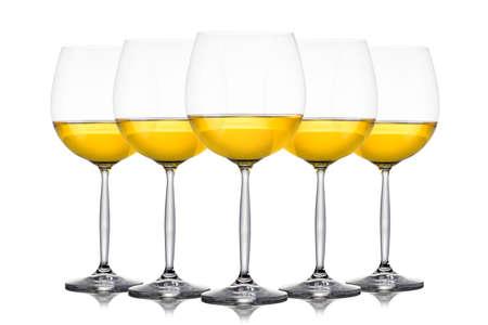 Set of glasses for white wine on white Stock Photo