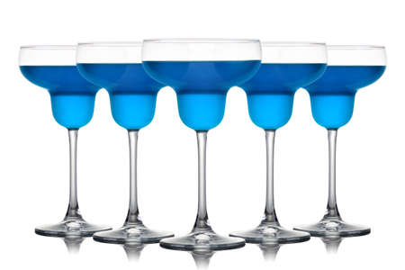 Set of Margarita cocktails with blue curacao isolated on a white background