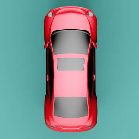 Top view of eco red concept car on green background