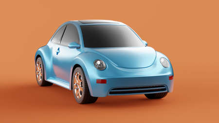Front view of eco blue concept car on orange background