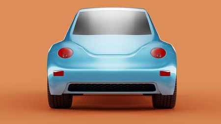 Back view of eco blue concept car on orange background