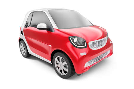 Front view of eco red concept car on white