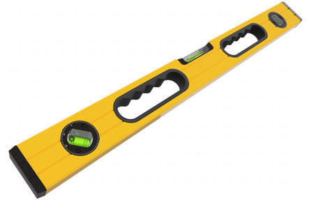 Building spirit level tool isolated on white. 3d render and illustration of tool for repair and building Banco de Imagens
