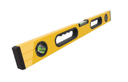 Building spirit level tool isolated on white with clipping path. 3d render and illustration of tool for repair and building Banco de Imagens