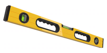 Building spirit level tool isolated on white with . 3d render and illustration of tool for repair and building