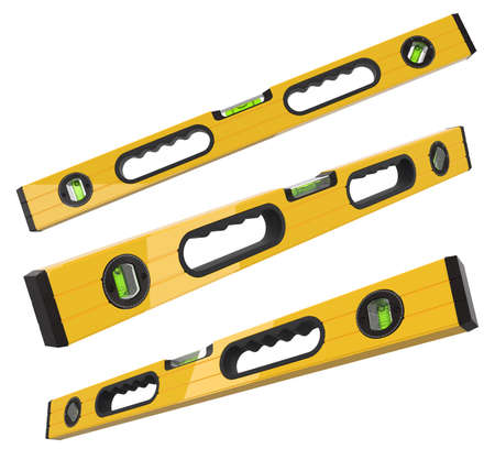 Set of building spirit level tools isolated on white   .