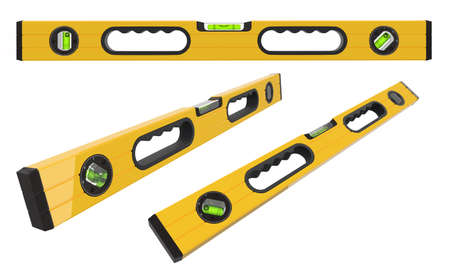 Set of building spirit level tools isolated on white
