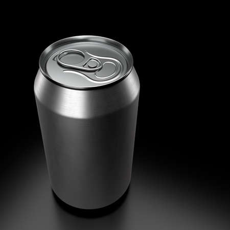 Silver aluminum beer or soda can isolated on black background. View from the top