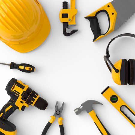 Set of construction tools for repair and installation on white background