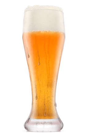 Frosty glass of fresh light beer with bubble froth isolated on a white background. 3D rendering concept of drinking alcohol on holidays, Oktoberfest or St. Patrick's Day Stock Photo
