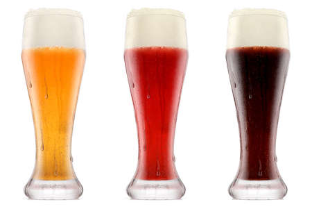 Set of glasses of fresh beer with bubble froth